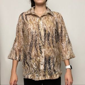 Alia patterned button down shirt